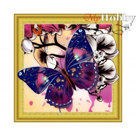 "Diamond Embroidery Painting Kit ""Butterfly"" Collection D'Art - size 30x30cm"