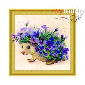 "Diamond Embroidery Painting Kit ""Cornflower hedgehog"" Collection D'Art - size 30x30cm"