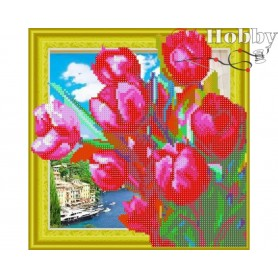 "Diamond Embroidery Painting Kit ""Bouquet of tulips"" Collection D'Art - size 30x30cm"
