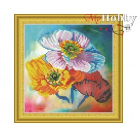 """Diamond Embroidery Painting Kit """"Poppy trio"""" Collection D'Art - size 30x30cm"""