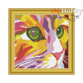 "Diamond Embroidery Painting Kit ""Colored kitten"" Collection D'Art - size 30x30cm"