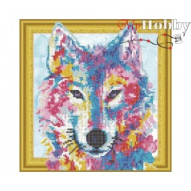 "Diamond Embroidery Painting Kit ""Watercolor wolf"" Collection D'Art - size 30x30cm"