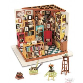Miniature Dollhouse Room Box Kit - DIY Sam's study