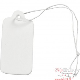 Gift Tags, white, size 15x30 mm, 100 pc/ 1 pack