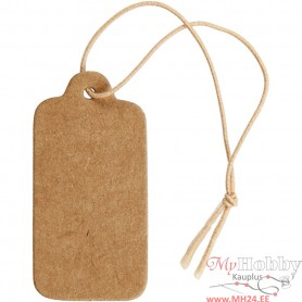 Gift Tags, light brown, size 15x30 mm, 100 pc/ 1 pack