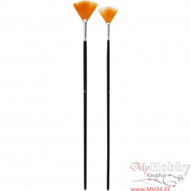Gold Line Brushes, Fan, no. 4+8, W: 35+45 mm, long handles, 2 pc/ 1 pack