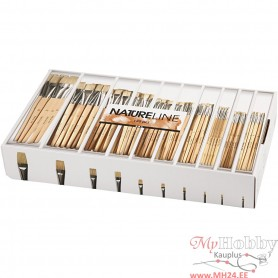 Nature Line Brushes, no. 00, 0, 1, 2, 4, 8, 12, 14, 20, 22, short handles, 120 pc/ 1 pack