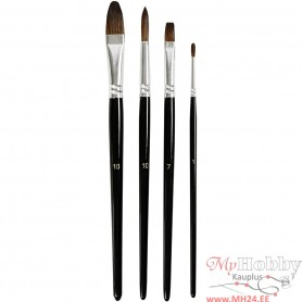 Watercolour paint brushes, short handles, 4 pc/ 1 pack