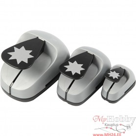 Craft Punch Set, grafical star, size 25+50+75 mm, 3 pc/ 1 pack
