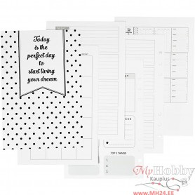 Calender pages, white, size 142x210 mm, 7 , 120 g, 1 pc/ 1 pack