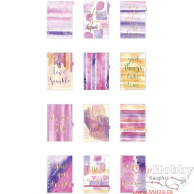 Index divider, gold, purple, rose, A5, 12 , 1 pc/ 1 pack