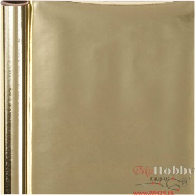 Wrapping Paper, gold, W: 50 cm, 65 g, 4 m/ 1 roll