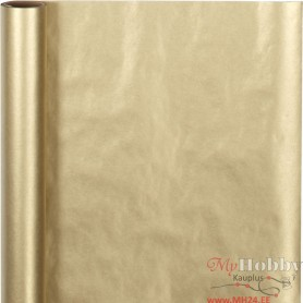 Wrapping Paper, gold, W: 50 cm, 60 g, 5 m/ 1 roll