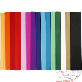 Crepe Paper, assorted colours, L: 2,5 m, W: 50 cm, 60 pleats/ 1 pakk