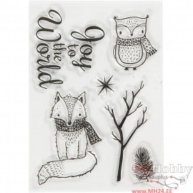 Silicone Motives, owl and fox, size 10,5x15 cm, 1 sheet