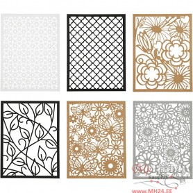 Pad with Cardboard Lace Patterns, black, natural, grey, white, A6, 104x146 mm, 200 g, 24 pc/ 1 pack