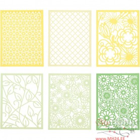 Pad with Cardboard Lace Patterns, green, light green, yellow, light yellow, A6, 104x146 mm, 200 g, 24 pc/ 1 pack