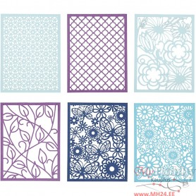 Pad with Cardboard Lace Patterns, blue, light blue, dark blue, purple, A6, 104x146 mm, 200 g, 24 pc/ 1 pack
