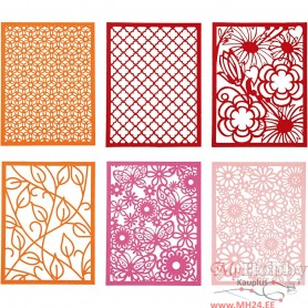 Pad with Cardboard Lace Patterns, orange, pink, rose, red, A6, 104x146 mm, 200 g, 24 pc/ 1 pack