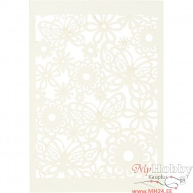 Lace Patterned cardboard, off-white, 10,5x15 cm, 200 g, 10 pc/ 1 pack