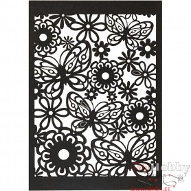 Lace Patterned cardboard, black, 10,5x15 cm, 200 g, 10 pc/ 1 pack