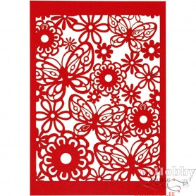 Lace Patterned cardboard, red, 10,5x15 cm, 200 g, 10 pc/ 1 pack