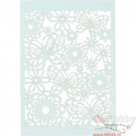 Lace Patterned cardboard, light blue, 10,5x15 cm, 200 g, 10 pc/ 1 pack
