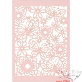 Lace Patterned cardboard, light red, 10,5x15 cm, 200 g, 10 pc/ 1 pack