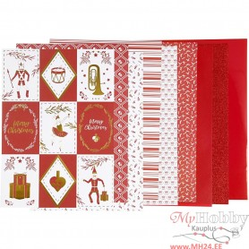 Design Paper pad, red, white, size 21x30 cm, 120+128 g, 24 sheet/ 1 pack
