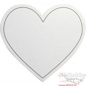 Heart, white, size 75x69 mm, 120 g, 10 pc/ 1 pack