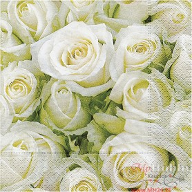 Table Napkins, White roses, size 33x33 cm, 20 pc/ 1 pack