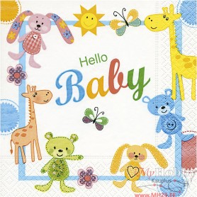 Table Napkins, Hello Baby, size 33x33 cm, 20 pc/ 1 pack
