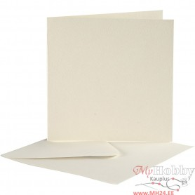 Cards And Envelopes, off-white, card size 12,5x12,5 cm, envelope size 13,5x13,5 cm, 10 set/ 1 pack
