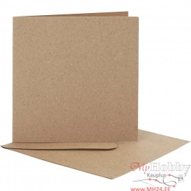 Blank Cards With Envelope, natural, card size 12,5x12,5 cm, envelope size 13,5x13,5 cm, 10 set/ 1 pack