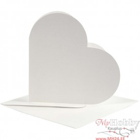 Heart-Shaped Cards , off-white, card size 12,5x12,5 cm, envelope size 13,5x13,5 cm, 10 set/ 1 pack