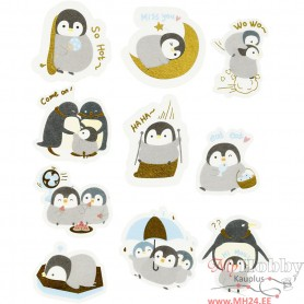 Masking tape stickers, penguins, size 40-53 mm, 30 pc/ 1 pack