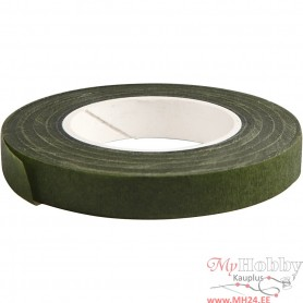 Floral Tape, dark green, W: 12 mm, 27 m/ 1 roll