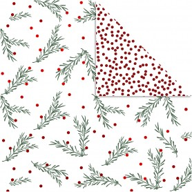 Design Paper, gold, green, red, white, spruce branch and dots, 30,5x30,5 cm, 180 g, 3 sheet/ 1 pack