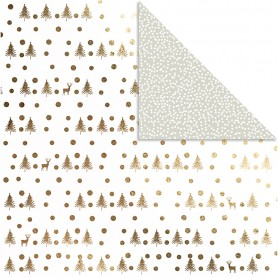Design Paper, gold, deers and dots, 30,5x30,5 cm, 180 g, 3 sheet/ 1 pack