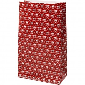 Paper Bag, red, white, drum, H: 21 cm, size 6x12 cm, 80 g, 8 pc/ 1 pack