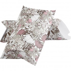 Pillow box, beige, brown, rose, white, flowers, size 23,9x15x6 cm, 300 g, 3 pc/ 1 pack