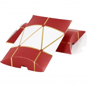 Pillow box, gold, red, white, drum, size 14,9x9,4x2,5 cm, 300 g, 3 pc/ 1 pack