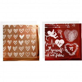 Deco Foil and transfer sheet, red, hearts and love, 15x15 cm, 2x2 sheet/ 1 pack