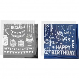 Deco Foil and transfer sheet, dark blue, silver, birthday, 15x15 cm, 2x2 sheet/ 1 pack
