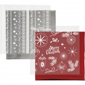 Deco Foil and transfer sheet, red, silver, Magical Christmas, 15x15 cm, 2x2 sheet/ 1 pack