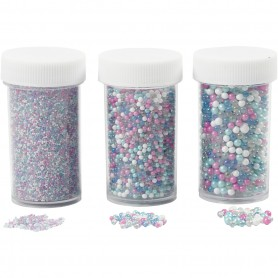 Mini Glass beads, size 0,6-0,8+1,5-2+3 mm, 3x45 g/ 1 pack