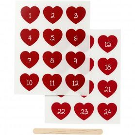 Rub-on Sticker, red, advent numbers, H: 32 mm, W: 28 mm, 12,2x15,3 cm, 1 pack