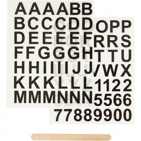 Rub-on Sticker, black, letters and numbers, H: 17 mm, 12,2x15,3 cm, 1 pack
