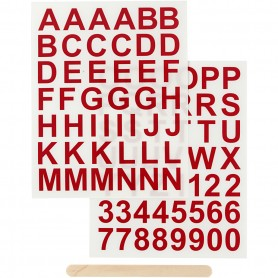 Rub-on Sticker, red, letters and numbers, H: 17 mm, 12,2x15,3 cm, 1 pack