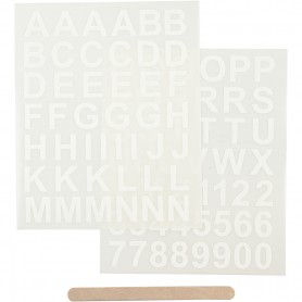 Rub-on Sticker, white, letters and numbers, 12,2x15,3 cm, 1 pack